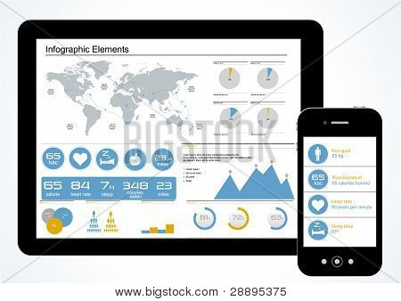 Vector Set Elements Of Infographics Workout. World Map And Information Graphics