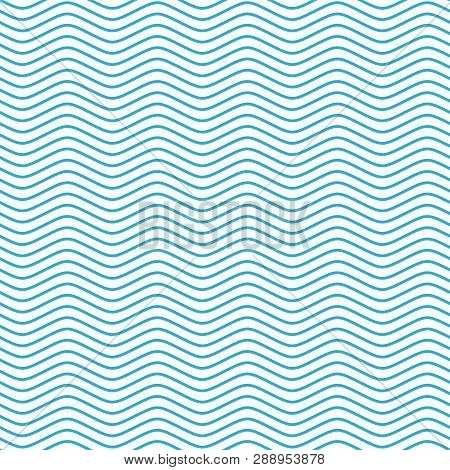 Blue And White Seamless Wave Pattern. Linear Waves Background. Abstract Geometric Ornament. Sea Or O