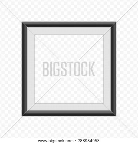 Realistic Photo Frame Template Isolated On White Background. Black, Blank Picture Frames For A4 Imag