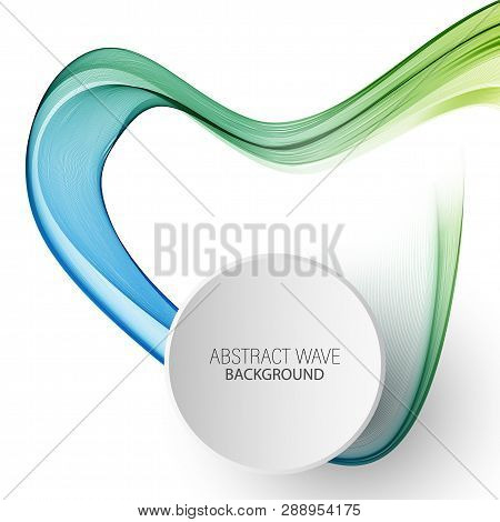 Abstract Vector Background, Blue And Green Waved Lines For Brochure, Website, Flyer Design.