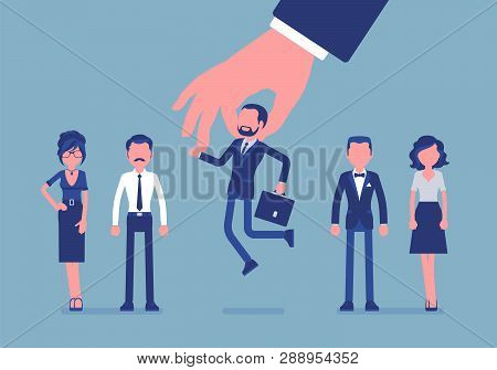 Candidate Selection From Group Of Employees. Giant Hand Takes Corporate Election Choosing Small Pers