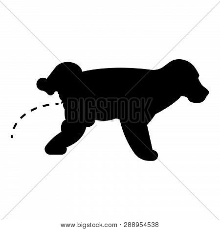 Pissing Dog Puppy Pissing Pet Pissing With Raised Leg Icon Black Color Vector Illustration Flat Styl