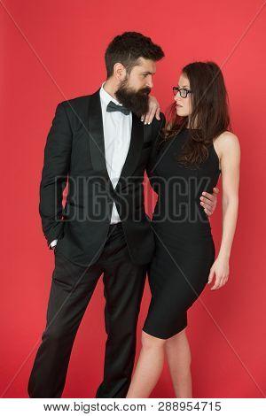 Gorgeous Couple In Love. Award Ceremony Concept. Bearded Gentleman Wear Tuxedo Girl Elegant Dress. F