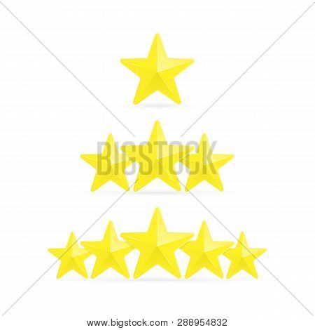 Three Stars Ratings Template. Rating System In Flat Style, Isolated On White Background. Customer Pr