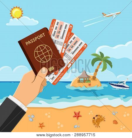 Vacation, Tourism, Summer Concept With Flat Icons For Web Site, Advertising Like Hand With Passport