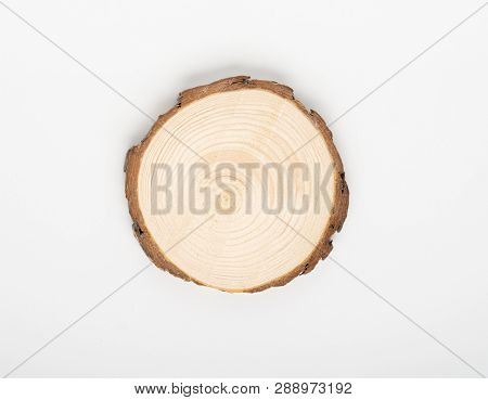 Pine tree cross-section with annual rings on white background. Lumber piece close-up, top view, isolated.