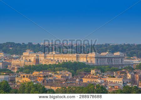 Top View Of Supreme Court Of Cassation In Rome (italian: Corte Suprema Di Cassazione). Beautiful Vie