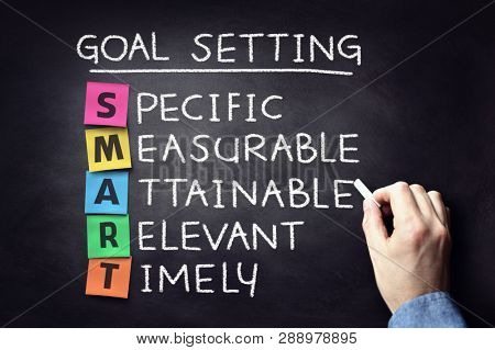 Smart business goal setting project management concept on blackboard
