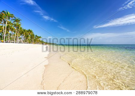 Beautiful sunny morning on tropical beach in Dominican republic