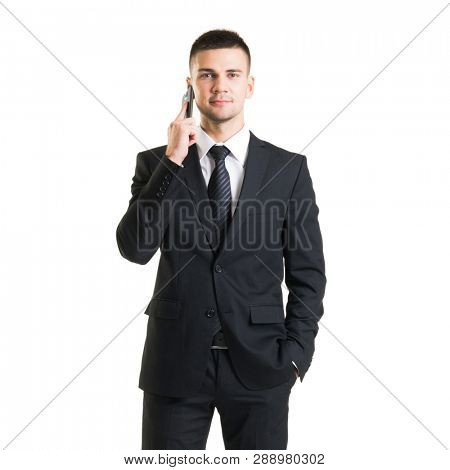 Confident man in formalwear. Businessman in suit isolated on white.