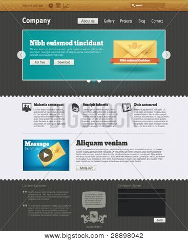 Website design template with envelope