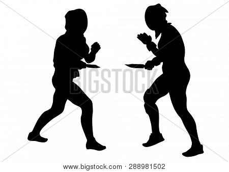 Women in sport fight with knives on white background