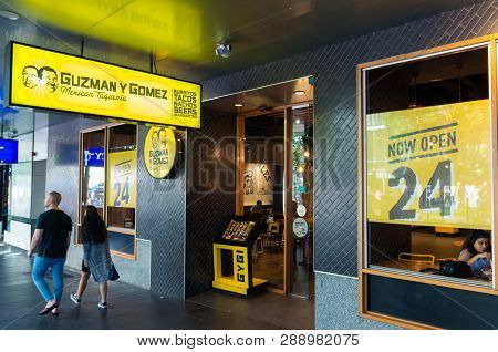 Melbourne, Australia - December 23, 2018: Guzman Y Gomez Is An Australian Restaurant Chain Selling M