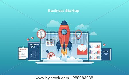 Business Project Startup, Financial Planning, Idea, Strategy, Management, Realization And Success. R