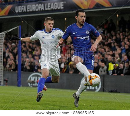 LONDON, ENGLAND - MARCH 7 2019: Pedro of Chelsea during the Europa League match between Chelsea and Dynamo Kyiv at Stamford Bridge.