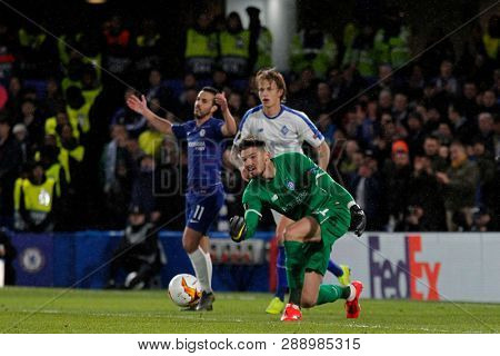LONDON, ENGLAND - MARCH 7 2019: Denys Boyko of Dynamo Kiev during the Europa League match between Chelsea and Dynamo Kyiv at Stamford Bridge.