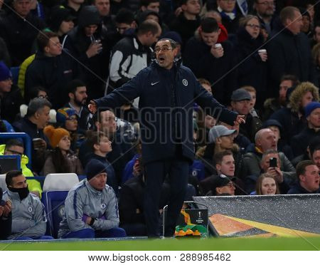 LONDON, ENGLAND - MARCH 7 2019: Maurizio Sarri manager of Chelsea during the Europa League match between Chelsea and Dynamo Kyiv at Stamford Bridge.