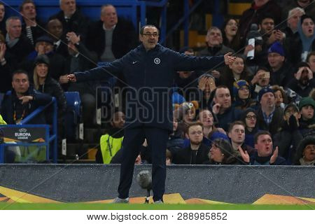 LONDON, ENGLAND - MARCH 7 2019: Maurizio Sarri manager of Chelsea during the Europa League Round of 16, first leg match between Chelsea and Dynamo Kyiv at Stamford Bridge on March 7 2019