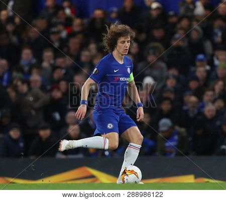 LONDON, ENGLAND - MARCH 7 2019: David Luiz of Chelsea during the Europa League match between Chelsea and Dynamo Kyiv at Stamford Bridge.