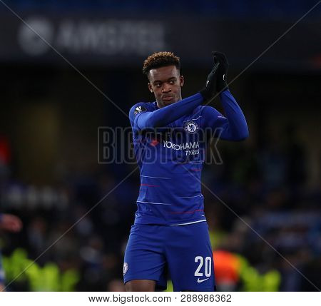LONDON, ENGLAND - MARCH 7 2019: Callum Hudson-Odoi of Chelsea applauds the fans during the Europa League Round of 16, first leg match between Chelsea and Dynamo Kyiv at Stamford Bridge on March 7 2019