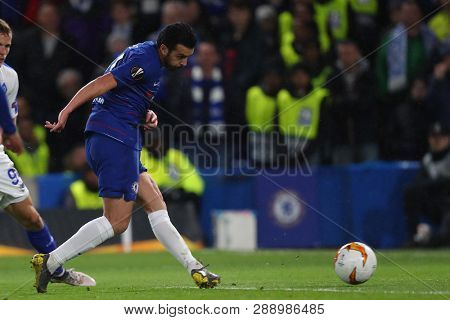 LONDON, ENGLAND - MARCH 7 2019: Pedro of Chelsea scores a goalduring the Europa League Round of 16, first leg match between Chelsea and Dynamo Kyiv at Stamford Bridge on March 7 2019 in London