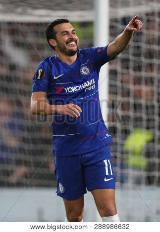 LONDON, ENGLAND - MARCH 7 2019: Pedro of Chelsea celebrates scoring a goal during the Europa League match between Chelsea and Dynamo Kyiv at Stamford Bridge.