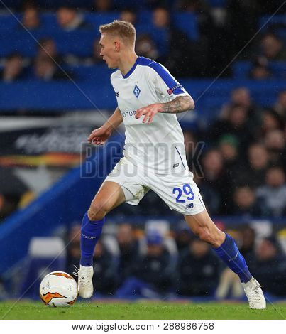 LONDON, ENGLAND - MARCH 7 2019: Vitaliy Buyalskyy of Dynamo Kiev  during the Europa League match between Chelsea and Dynamo Kyiv at Stamford Bridge.