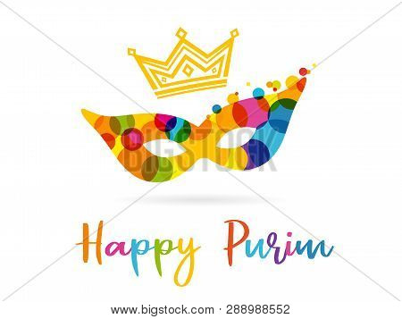 Purim Banner With Colored Mask, Design Template. Happy Purim Text, Gold Crown And Colorful Carnival