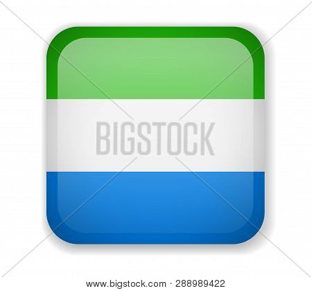 Sierra Leone Flag. Bright Square Icon On A White Background