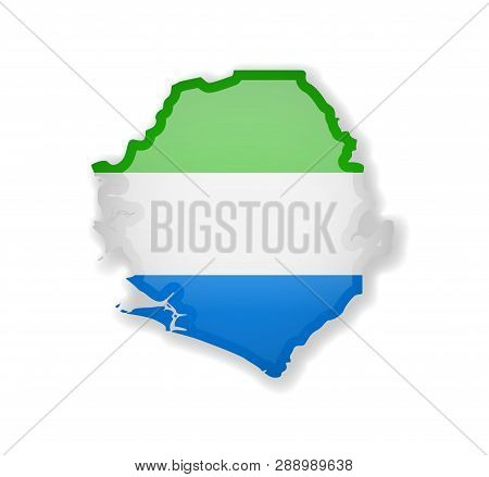 Sierra Leone Flag And Outline Of The Country On A White Background.