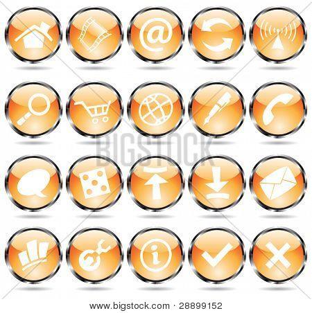 Orange glossy web icons with metallic frames