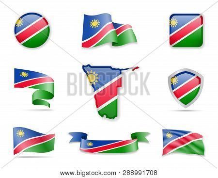 Namibia Flags Collection. Vector Illustration Set Flags And Outline Of The Country.
