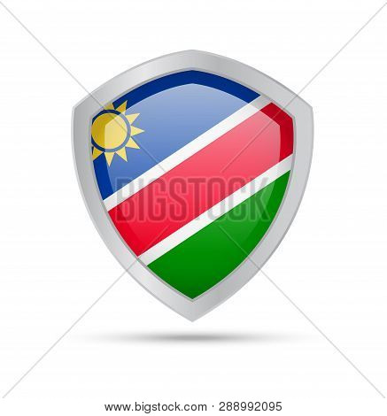 Shield With Namibia Flag On White Background.
