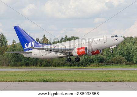 Boeing 737 Sas Airlines Airport Pulkovo, Russia Saint-petersburg. 15 August 2018
