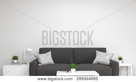 Sofa In Front Of Simple White Wall With Decorative Items Empty Room,open Door,3d Rendering Luxury Li