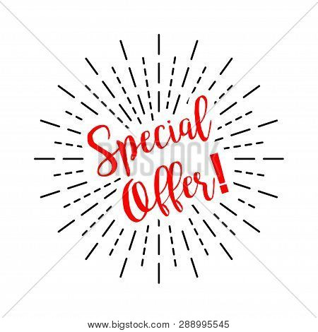 Special Offer With Burst On A White Background, Vector