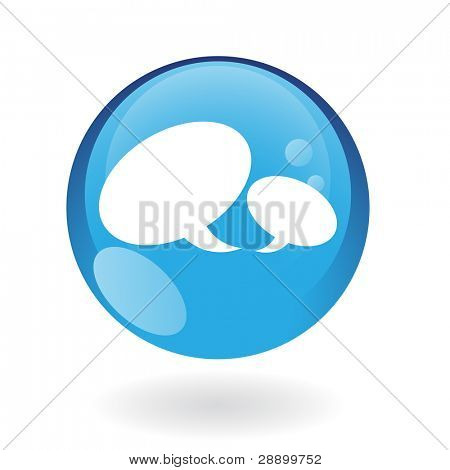 Glossy speech bubbles in blue button isolated on white