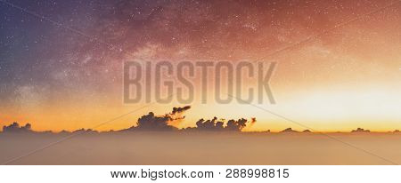 Panoramic Sunrise Sky And Starry Sky At Dawn, Summer Sky Background