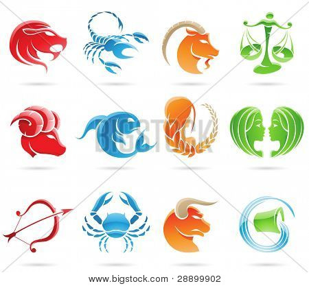 Glowing zodiacs isolated on a white background