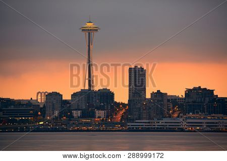 SEATTLE, WA - AUG 14: Space Needle at waterfront on August 14, 2015 in Seattle. Seattle is the largest city in both the State of Washington and the Pacific Northwest region of North America
