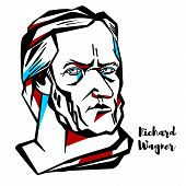 Richard Wagner engraved vector portrait with ink contours. German composer, theatre director, polemicist, and conductor who is chiefly known for his operas. poster