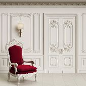 Classic armchair  in classic interior with copy space.Walls with mouldings,ornated cornice. Floor parquet herringbone.Classic door with decoration.Sconces on the wall.Digital Illustration.3d rendering poster