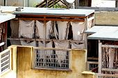 Rooftop tannery in Moroccan city of Fes poster