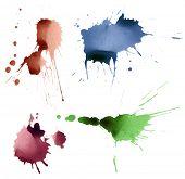 set of ink splashes poster