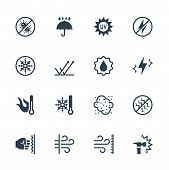 Vector icons set of external influence and protection from it. Antibacterial, water, heat, cold, dust, impact and scratch resistance, UV rays, shockproof , windproof, antistatic and etc. poster