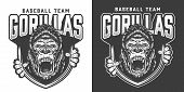 Baseball team angry gorilla mascot emblem with ferocious primate head and claws in vintage monochrome style isolated vector illustration poster