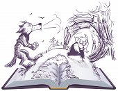 Three pigs fairy tale open book illustration. Wolf blowing broke house poster