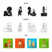 Vector illustration of evolution  and prehistory symbol. Set of evolution  and development  stock vector illustration. poster