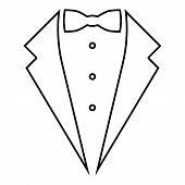 Symbol service dinner jacket bow Tuxedo concept Tux sign Butler gentleman idea Waiter suit icon black color outline vector illustration flat style simple image 96 poster