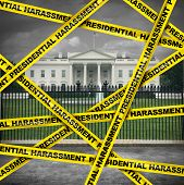 Presidential harassment United States political as house oversight by congress investigating collusion or obstruction by the government for possible impeachment proceedings in a 3D illustration style. poster